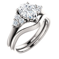 1 Carat Pear Cubic Zirconia Engagement Ring & Matching Band