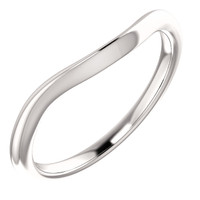 Solid 14 Karat White Gold Curved Band