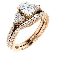 1 Carat Oval CZ Wedding Set in Rose Gold