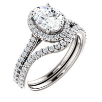 1 Carat Oval Wedding Set Featuring Hand Cut & Polished Cubic Zirconias