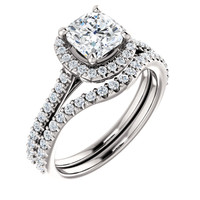 1 Carat Cushion Cut Cubic Zirconia Engagement Ring & Matching Curved Band