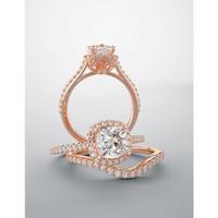 Highest Quality Man Made Diamond Halo Wedding Set