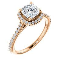 1 Carat Flawless Cushion Cut Cubic Zirconia Halo Engagement Ring