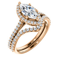 1 Carat Marquise Cubic Zirconia Halo Wedding Set in Rose Gold