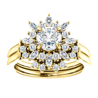 Finest Hand Cut & Polished Cubic Zirconia Wedding Set in Solid 14 Karat Yellow Gold