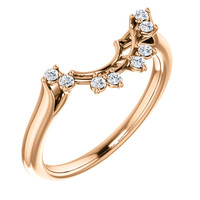 Curved Matching CZ Wedding Band in Solid 14 Karat Pink Gold