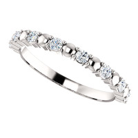 Fine Cubic Zirconia Stackable Bridal Band in Solid 14 Karat White Gold