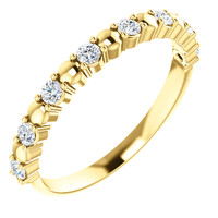 Solid 14 Karat Yellow Gold Stackable Half Eternity Band