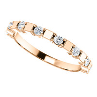 Half Eternity Band in Solid 14 Karat Pink Gold