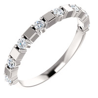 Stackable Cubic Zirconia Half Eternity Band in Solid 14 Karat White Gold