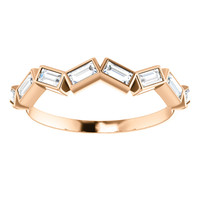 Bezel Set Straight Baguette Half Eternity Band in Solid 14 Karat Rose Gold