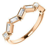 Fine Straight Baguette Cubic Zirconia Stackable Wedding Band
