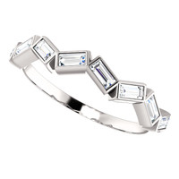 Fine Cubic Zirconia Straight Baguette Band in Solid 14 Karat White Gold