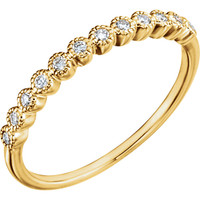 Fine Cubic Zirconia Stackable Wedding Band in Solid 14 Karat Yellow Gold
