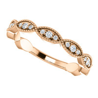 Stackable Cubic Zirconia Wedding Band in Solid 14 Karat Rose Gold