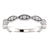 Highest Quality Cubic Zirconia Stackable Band in Solid 14 Karat White Gold
