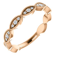 Solid 14 karat Rose Gold Cubic Zirconia Band