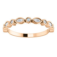 Fine Cubic Zirconia Stackable Band in Solid 14 Karat Rose Gold