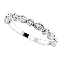Solid 14 Karat White Gold Stackable CZ Wedding Band