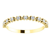 Stackable Half Eternity CZ Band in Solid 14 Karat Yellow Gold