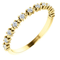 Stackable Mismatched Cubic Zirconia Half Eternity Band