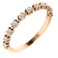 Pink Gold Stackable Cubic Zirconia Wedding Band