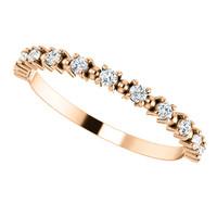 Cubic Zirconia Stackable Wedding Band in Solid 14 Karat Rose Gold