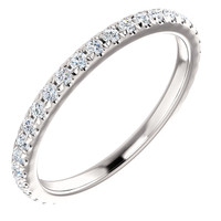 Highest Quality Cubic Zirconia Stackable Anniversary Band in Solid 14 Karat White Gold