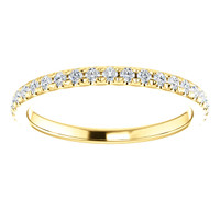 Finest Cubic Zirconia Stackable Anniversary Band in Solid 14 Karat Yellow Gold