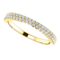 Finest Cubic Zirconia Stackable Mix & Match Band in Solid 14 Karat Yellow Gold