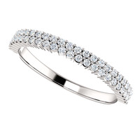 Fine Cubic Zirconia Stackable Wedding Band in Solid 14 Karat White Gold