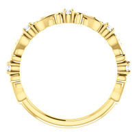 Finely Crafted Cubic Zirconia Stackable Band in Solid 14 Karat Yellow Gold