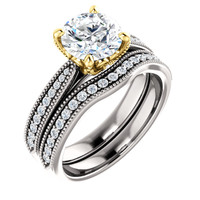 1.50 Carat Flawless Cubic Zirconia Engagement Set in Two-Tone Solid 14 Karat White & Yellow Gold