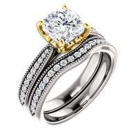 2 Carat Flawless Cushion Cut Cubic Zirconia Bridal Set in Two-Tone Solid 14 Karat White & Yellow Gold