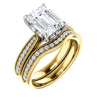 Flawless 2 Carat Emerald Cut Cubic Zirconia Engagement Set in Solid 14 Karat Yellow Gold