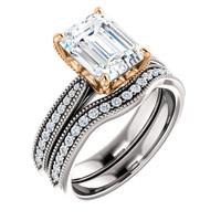 Flawless 2 Carat Emerald Cut Man Made Diamond Engagement Set in Solid 14 Karat White & Rose Gold