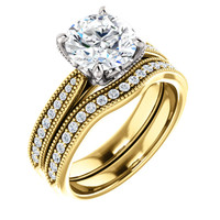 Highest Quality 2 Carat Cubic Zirconia Bridal Jewelry in Solid 14 Karat Yellow Gold