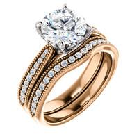 Beautiful 2 Carat Cubic Zirconia Bridal Set in Solid 14 Karat Rose Gold