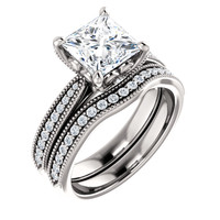 Highest Quality 2 Carat Princess Cut Cubic Zirconia Bridal Set in Solid 14 Karat White Gold