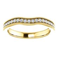 Solid 14 Karat Yellow Gold Cubic Zirconia Wedding Band