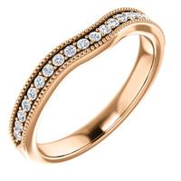 Solid 14 Karat Rose Gold Matching Cubic Zirconia Wedding Band