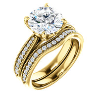 3Ct Round Flawless Cubic Zirconia Engagement Set in Solid 14 Karat Yellow Gold
