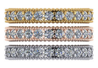 Flawless Cubic Zirconia Bands in Solid 14 Karat White, Yellow or Pink Gold