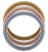 Stunning Cubic Zirconia Bands in Solid 14 Karat White, Yellow or Pink Gold