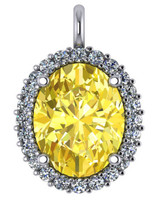 Stunning Canary Yellow 8Ct Oval Cubic Zirconia Halo Pendant