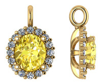 Flawless Canary Yellow 3Ct Oval Cubic Zirconia Halo Pendant