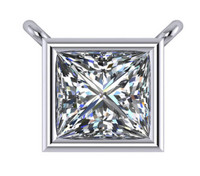 1.50Ct Princess Cut Cubic Zirconia Bezel Pendant In 14Kt White Gold