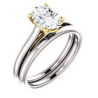 Stunning 1 Carat Oval Cubic Zirconia Solitaire in Solid 14 Karat White Gold & Yellow Gold Accents