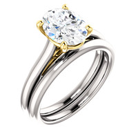 Worlds Finest 2 Carat Cubic Zirconia Solitaire in Solid 14 Karat White Gold & Yellow Gold Accents