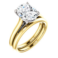 Highest Quality 3 Carat Oval Cubic Zirconia Solitaire in Yellow Gold & White Gold Accents